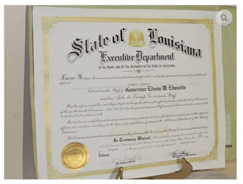 State Louisiana, Gov. Edwin M. Edwards Signed