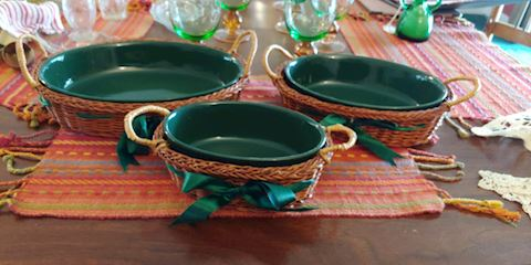 Set Of 3 Green Casserole Dishes With Baskets