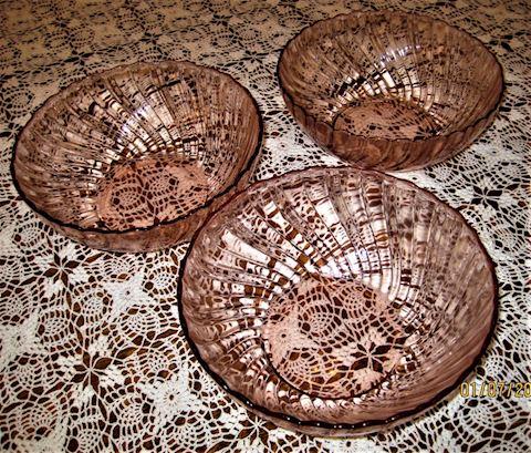 Vintage Pink Glass Serving Bowls, Swirl Patter
