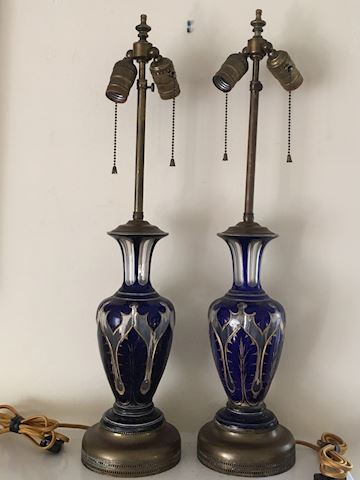 ANTQ STUNNING BOHEMIAN CARVED CRYSTAL PAIR LAMPS