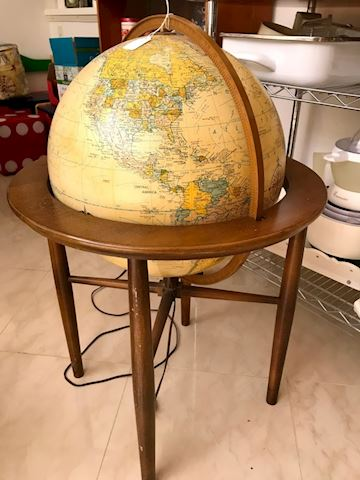 Mid Century Modern Lighted Globe in Stand