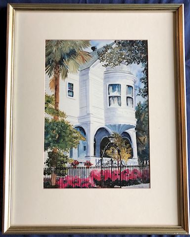 Framed Watercolor. White Building.
