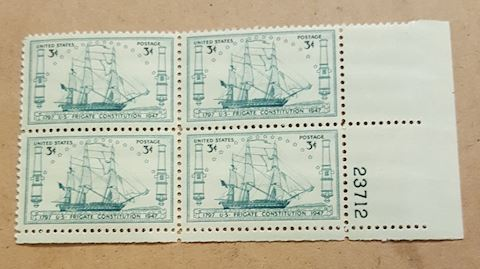 Plate Block of 4 US Frigate Constitution Stamps