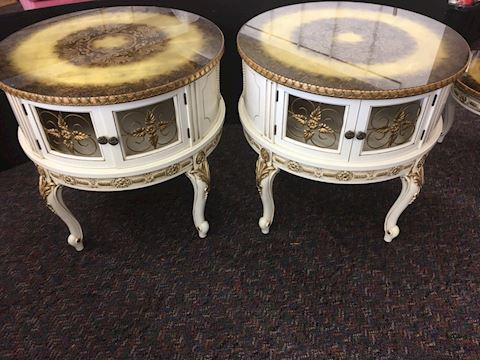 Pair of Hollywood Regency Round Gold Tables