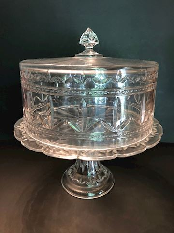 Large Vintage Glass Covered Cake Dessert Plate