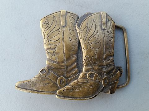 cowboy boots belt buckle 1981 Indiana metal craft