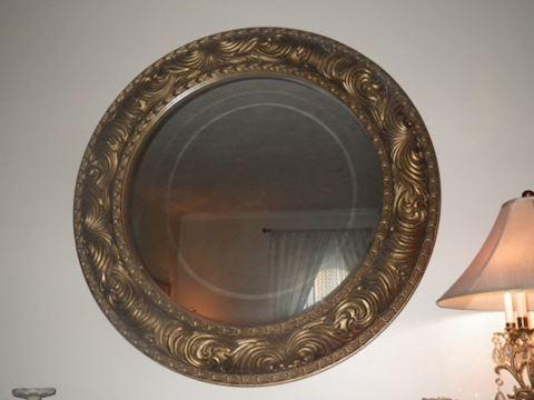 Circular Bronze Tone Mirror