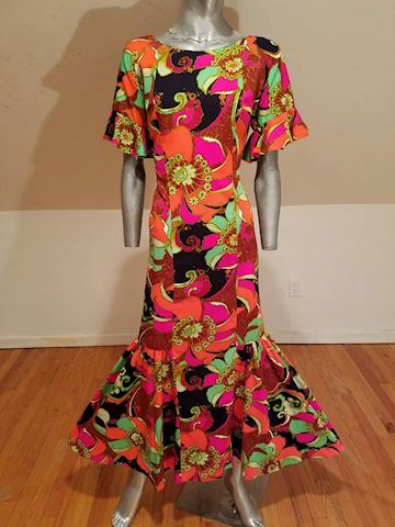 Hawaiian Psychedelic floral maxi ruffle dress 1970