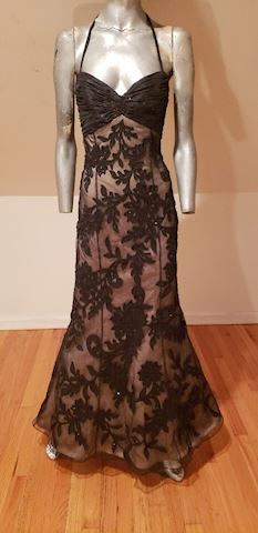 Bill Blass Couture silk beaded lace Gown