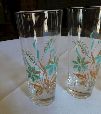 005 Set of 4 Wheat-Floral Glasses