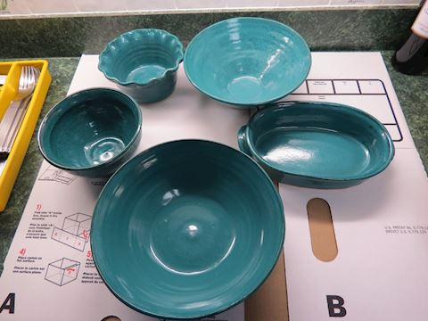 Five Teal Pottery Bowls - Signed