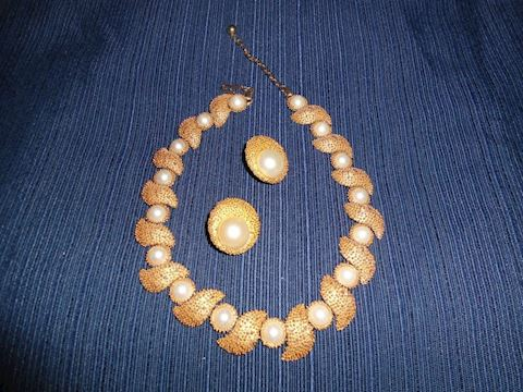Vintage Trifari Necklace and Matching Earrings