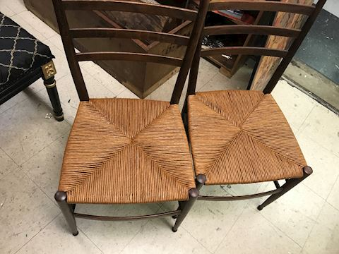 Pair Antique early 19th centry chairs w/ new seat