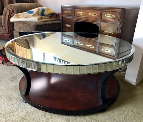 Round Coffee Table, wood with mirrored top