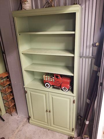 Seafoam Green Wood Bookcase