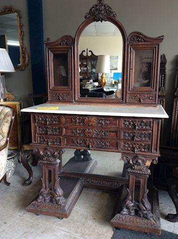 English Oak hand carved ladies bedroom set