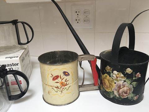 Vintage Flour Sifter and Hand Painted Metal Water