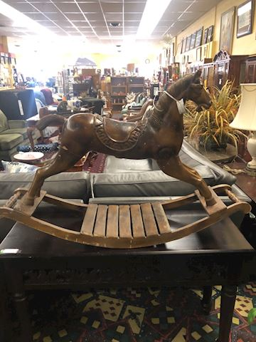 Vintage well loved wood rocking horse