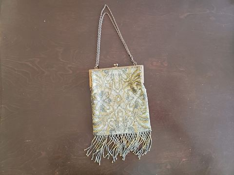 ANTIQUE BEADED BAG MESH FRINGE GOLD SILVER