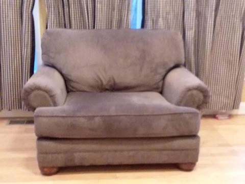 Grey Upholstered Large Cushy Chair