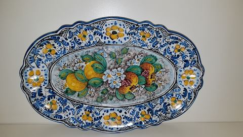 Italy Majolica Platter, Oval Caltagirone Classic