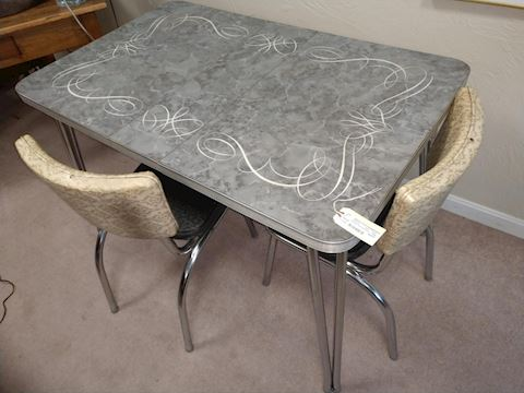 Enamel and Metal Dining Table with Leaf Two Chairs