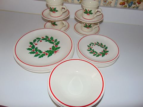 Vintage USA Pottery Christmas Dishes