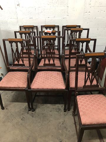 10 Chippendale Dining Room Chairs late 1800's