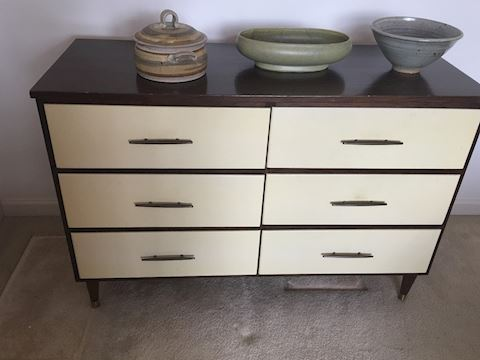 Cool Mid Century Wooden Dresser w/Painted Drawers