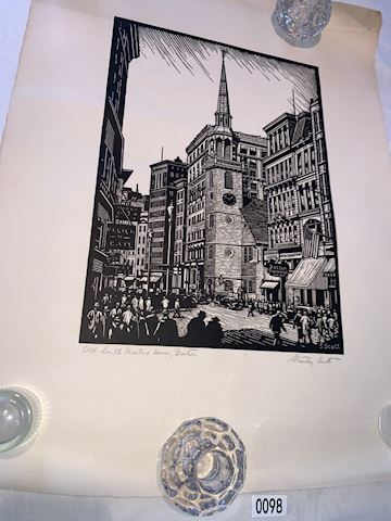 Lot 0089 Stanley Scott  Meeting Hall Boston Print