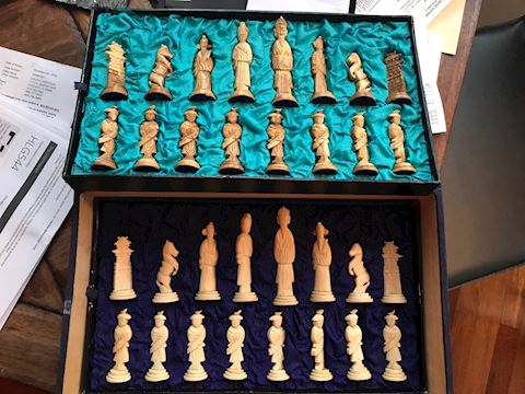 Antique 19th c Asian Bone Carved Chess Set