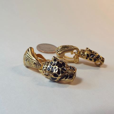 1980s Goldtone Leopard Earrings, Clip On