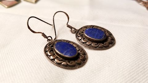 Sterling lapis earings