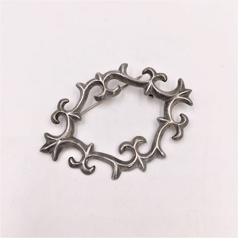 Native American Navajo Sand Cast Silver Pin Brooch