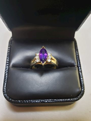14k gold with 1ctw Amethyst and Diamonds