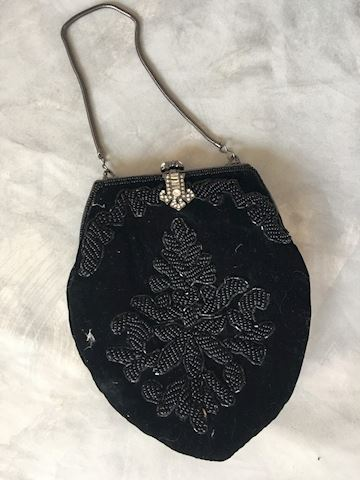 Jessica McClintock Black Velvet Beaded Evening Bag
