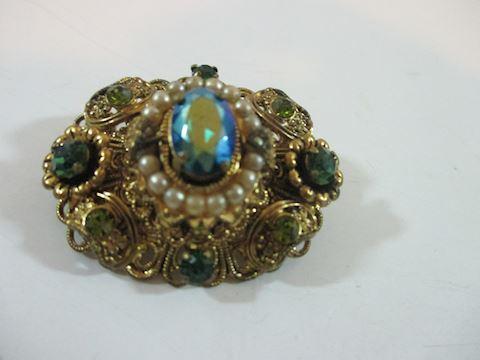 "Vintage /Antique Royal Rhinestone Brooche 2"""