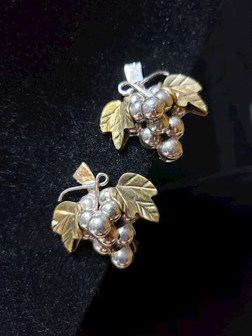Vintage silver grape earrings