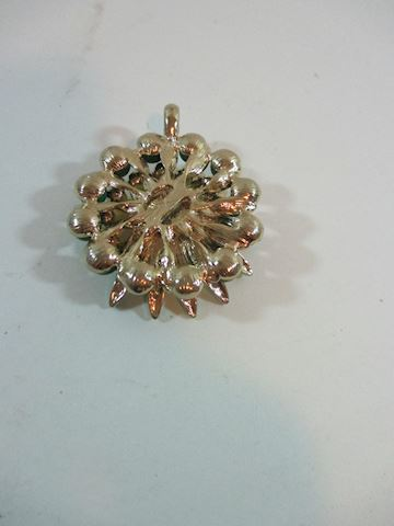 Spiral Enamel and Clear Rhinestone 50's Brooch