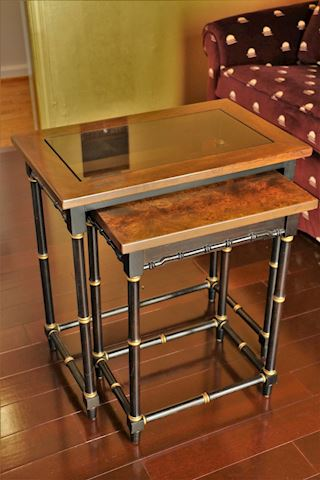 Bamboo Nesting Tables with Burled & Glass Top