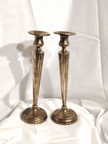 Antique Sterling Silver Candle Stick Holders