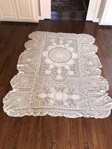 Antique Normandy Lace Twin Bed Coverlet #2