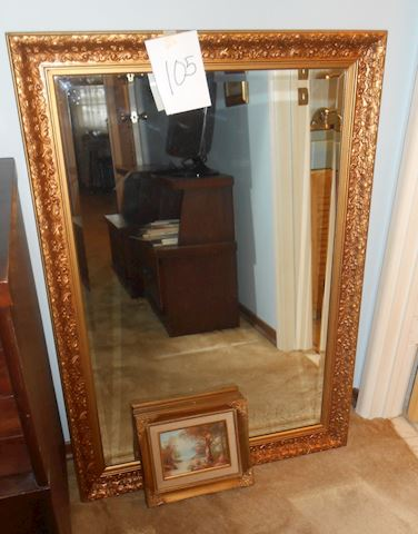 Lot #105 Beveled mirror