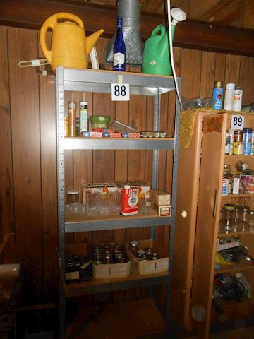 Lot #88 Metal shelf unit + supplies