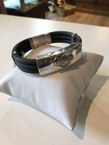 Mens Harley Davidson Bracelet silver and black