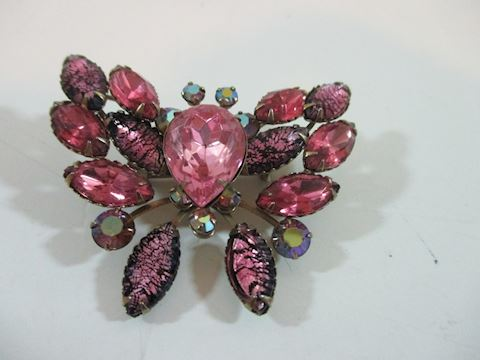 "Vintage Ruby Butterfly  Rhinestone Brooche 2"""