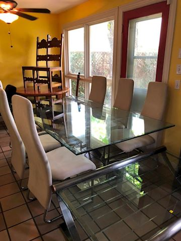 Chrome & Glass rectangle dining table and chairs
