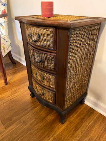 Basket Weave Mahogany 4 Drawer Side Table