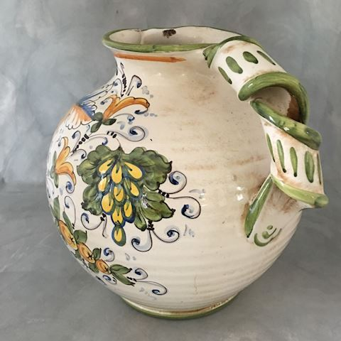 Large Italian Hand Painted Pottery Pitcher Vase
