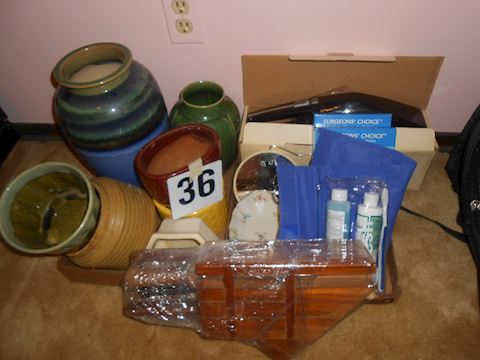 Lot #36 Various vases/knife set